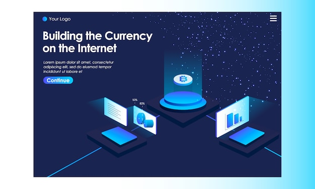 Cryptocurrency landing page with isometric illustration