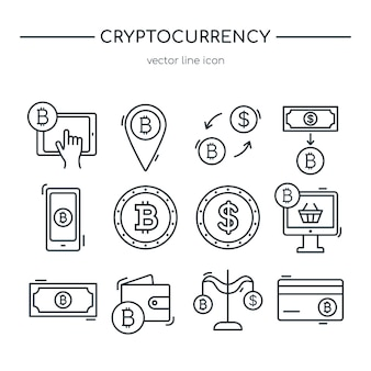 Коллекция иконок линии криптовалюты