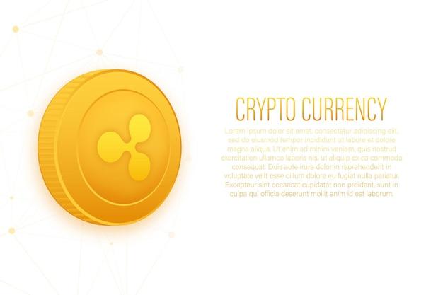황금 배경에 플랫 스타일의 cryptocurrency 로고 리플