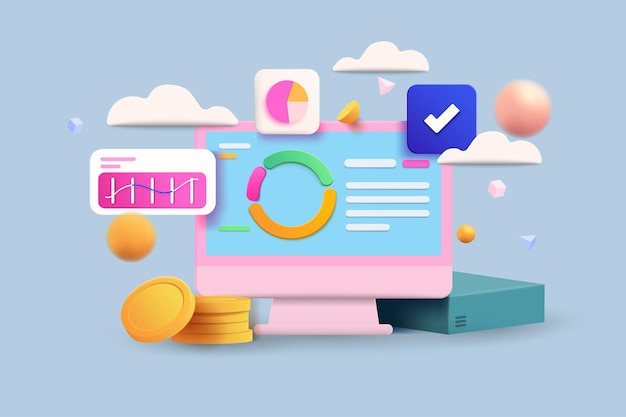 Cryptocurrency, market analytics and trading concept. 3d vector illustration