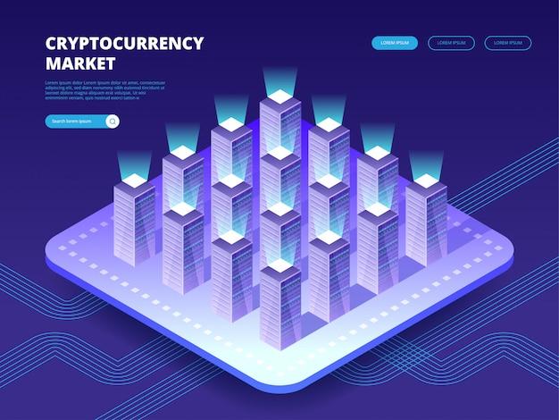 暗号通貨市場。ホスティングサーバーを備えたクラウドデータセンター。コンピューター技術、ネットワークとデータベース、インターネットセンター