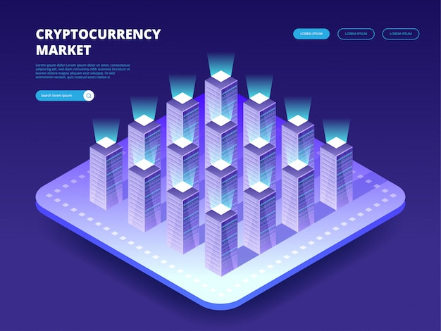 Cryptocurrency market. cloud data center with hosting servers. computer technology, network and database, internet center.
