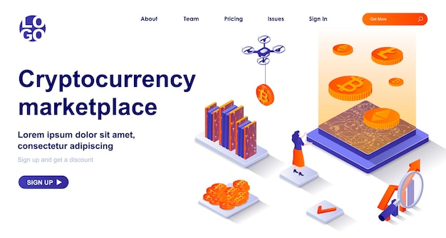 Cryptocurrency marketplace 3d isometric landing page with people characters
