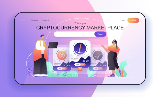 Cryptocurrency marketplace concept for landing page people analyze financial statistics