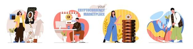 暗号通貨市場のコンセプトシーンは、ビットコインマイニングデジタルマネーブロックチェーンテクノロジーへの投資を設定します人々の活動のコレクション