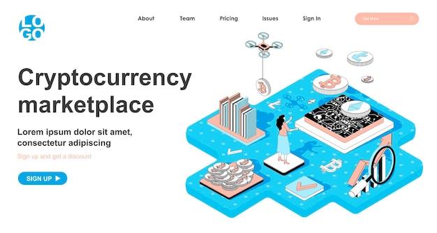 Изометрическая концепция криптовалютного рынка в 3d-дизайне для целевой страницы