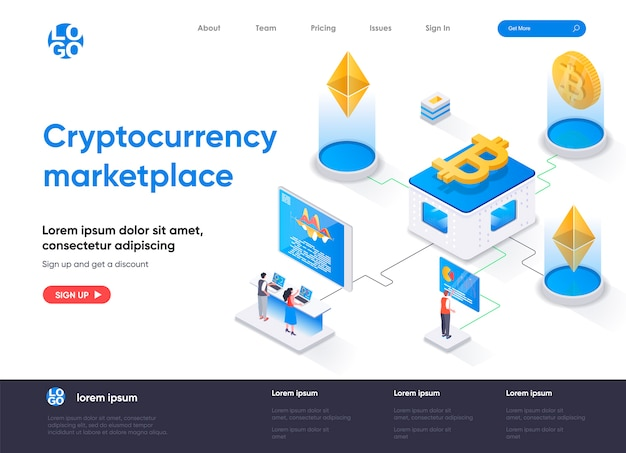Cryptocurrency marketplace isometric landing page