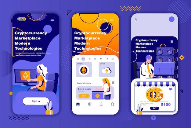 소셜 네트워크 스토리 용 암호 화폐 마켓 플레이스 모바일 앱 화면 템플릿