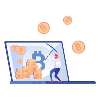 ビットコイン、cryptocurrency miner vector illustration