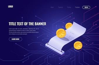 暗号通貨マイニングおよび支払いの概念、icoアイソメトリックバナー、ブロックチェーン技術のwebページ