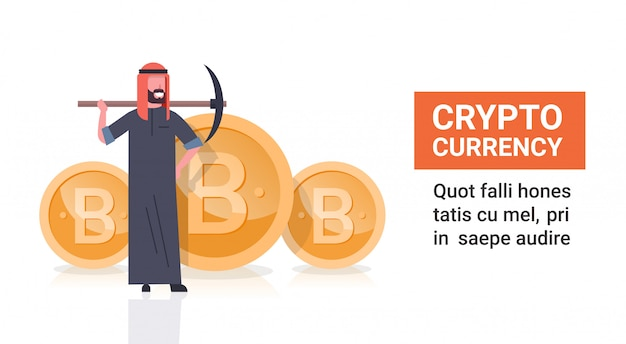Cryptocurrency mining concept arab man with pickaxe over golden bitcoin coin isolated
