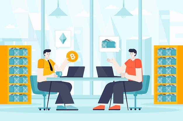 ランディングページの人々のキャラクターのフラットなデザインイラストの暗号通貨マイニングの概念
