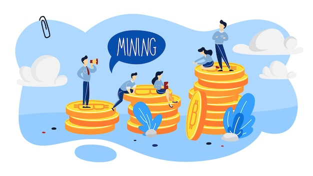 Cryptocurrency mining concept. people working with bitcoin piles around. idea of blockchain and digital innovation.   illustration