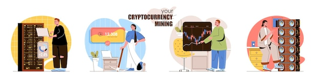 Cryptocurrency mining concept scenes set bitcoin mining farms digital money technology trade on market currency collection of people activities