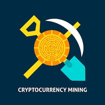 Cryptocurrency 마이닝 개념입니다. 금융 기술의 벡터 일러스트 레이 션.