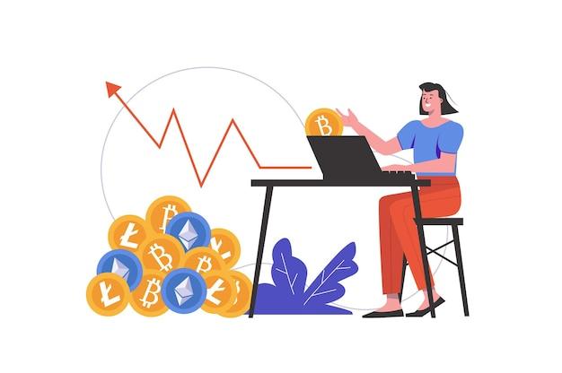 Концепция добычи криптовалюты. женщина зарабатывает в криптобизнесе, покупает или продает цифровые деньги, люди изолированы. технология блокчейн и майнинг биткойнов. векторная иллюстрация в плоском минималистском дизайне