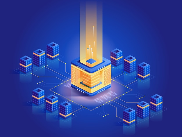 Изометрические иллюстрации фермы по добыче криптовалюты. компьютерная техника, серверная архитектура, электронный бизнес. блокчейн-технология, современный бизнес. виртуальные деньги, темно-синяя концепция электронной валюты