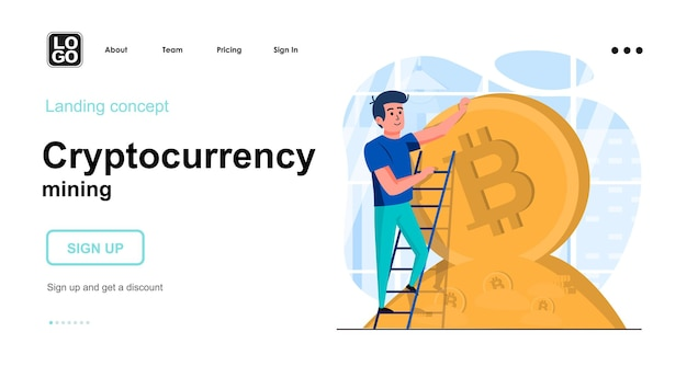 Cryptocurrency 마이닝 플랫 디자인 컨셉