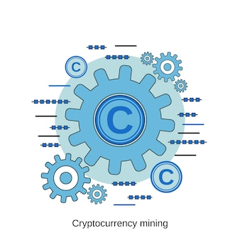 暗号通貨マイニングフラットデザインスタイルベクトル概念図
