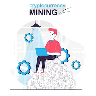 Cryptocurrency mining isolated cartoon concept man makes digital money in crypto business