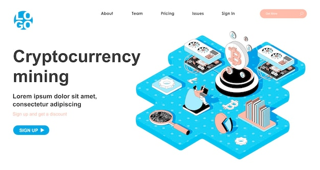 Cryptocurrency mining isometric concept in 3d design for landing page