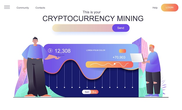 Cryptocurrency mining web concept for landing page