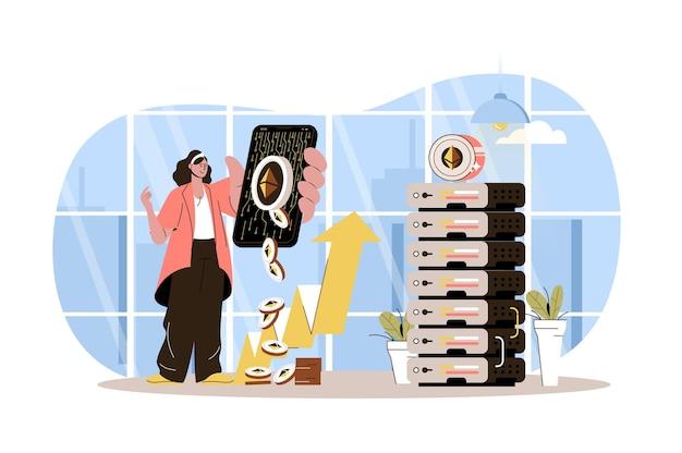 암호 화폐 마이닝 웹 개념 여성은 농장에서 디지털 돈을 벌거나 비트 코인을 판매합니다.