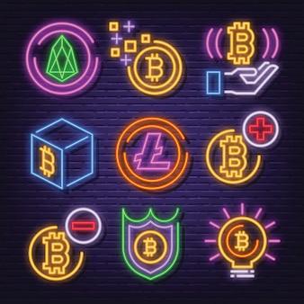 Cryptocurrency neon icon set