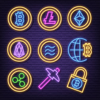 Cryptocurrency neon icons
