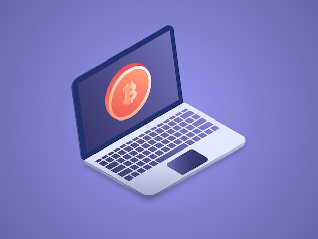 노트북 격리 된 3d 벡터 아이소 메트릭 그림에 bitcoin 기호의 암호 화폐