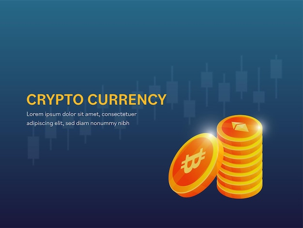 Cryptocurrency poster or web template design with 3d golden coins stack on blue background.