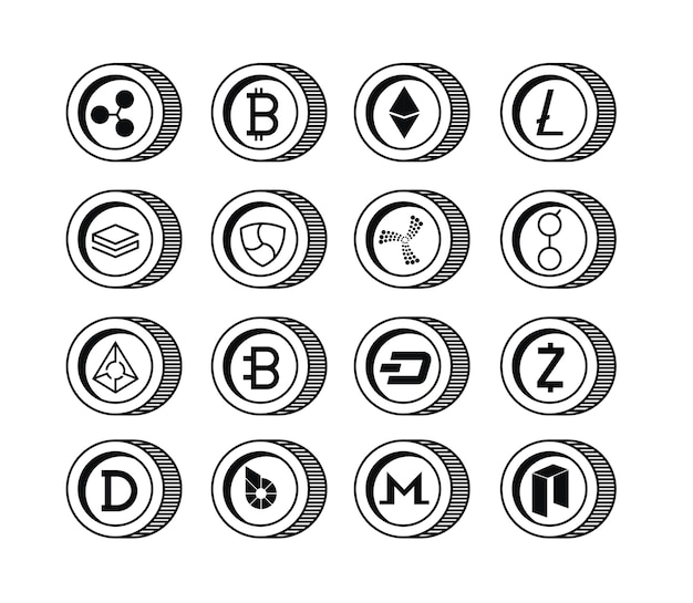 Cryptocurrency set types icons