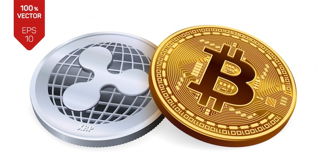 Cryptocurrency silver coin with ripple symbol and golden coin with bitcoin symbol isolated on white background.