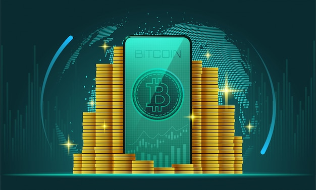 Cryptocurrency and smartphone with bitcoin on screen