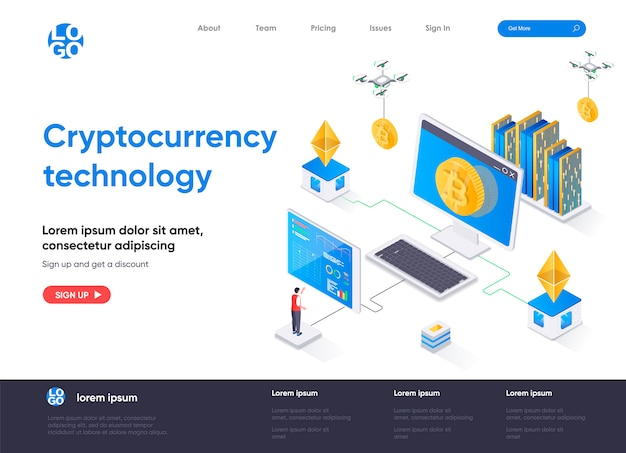 Cryptocurrency technology isometric landing page