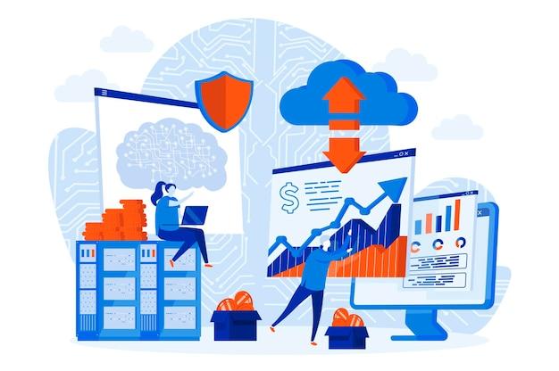 Веб-концепция технологии криптовалюты с иллюстрацией персонажей людей