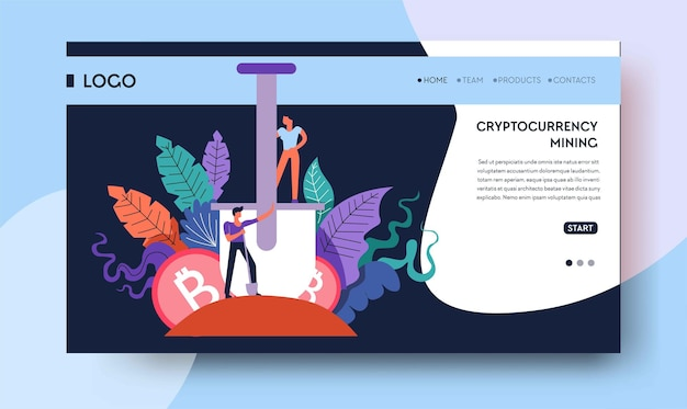 Cryptocurrency theme web template or landing page with call to action