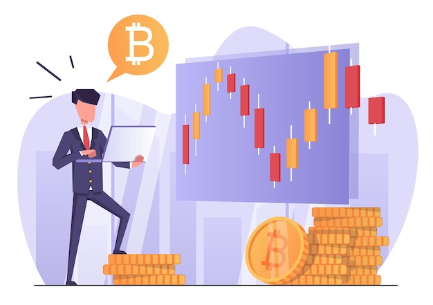 Cryptocurrency trading a businessman with a laptop tracks the growth of cryptocurrency