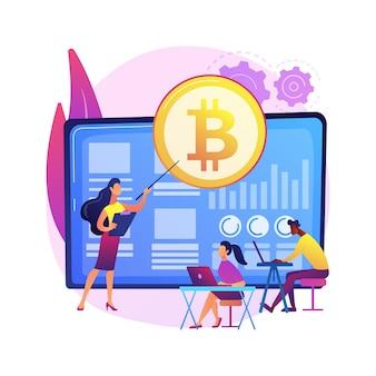 暗号通貨取引コースの抽象的な概念図。暗号貿易アカデミー、スマートコントラクト、デジタルトークンとブロックチェーンテクノロジー、セットアップと戦略、ico。