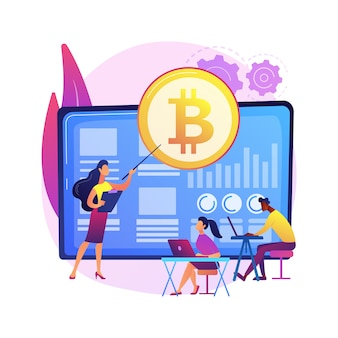 Cryptocurrency trading courses abstract concept  illustration. crypto trade academy, smart contracts, digital tokens and blockchain technology, setup and strategy, ico .