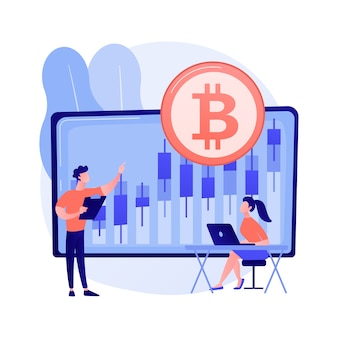 Cryptocurrency trading desk concetto astratto illustrazione