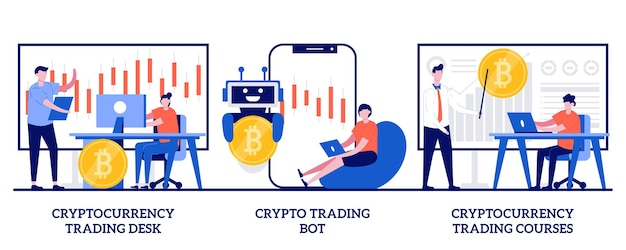 Стол и курсы по торговле криптовалютой, концепция бота для криптовалюты с крошечными людьми