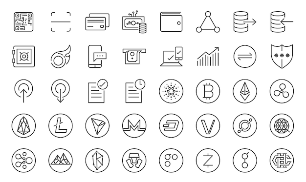 Cryptocurrency trading icon set
