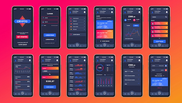 モバイルアプリ用の暗号通貨独自のデザインキット。財務グラフ、会計、投資を含むビットコインマイニング画面。暗号通貨プラットフォームui、uxテンプレート。レスポンシブモバイルアプリケーションのgui