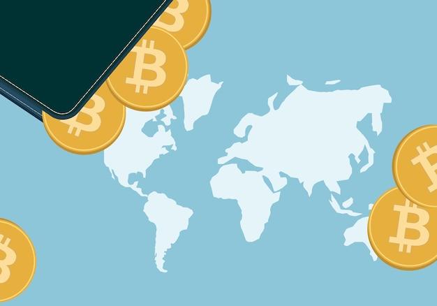 暗号通貨のシンボルが付いた暗号通貨ウォレットとコインのイラスト。地球地図を背景に