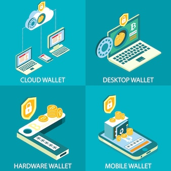 Cryptocurrency wallet  isometric  set