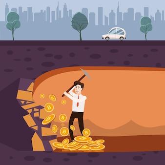 Криптовалюта с бизнесменом майнер и монеты. молодой человек с лопатой и киркой работает