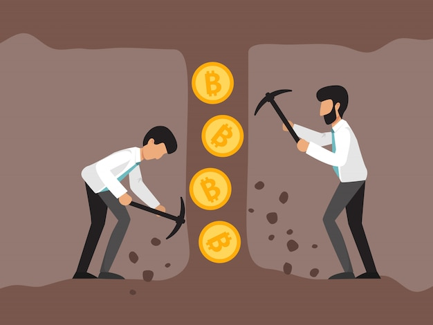 Cryptocurrency with businessman miners in mine. young men with jackhammer and pickaxe working in bitcoin mines.