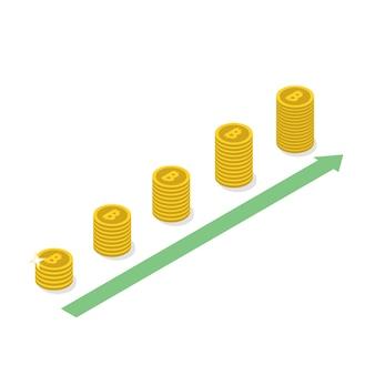 Cryptocurrencyビットコインの成長の概念。