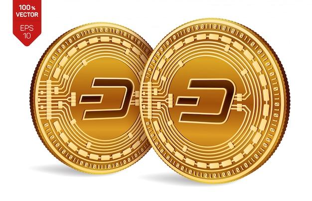 白い背景で隔離のダッシュシンボルとcryptocurrency黄金のコイン。